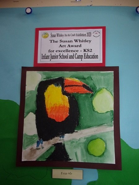 The Susan Whitley Art Award for Excellence in KS2 is awarded to Evie in Year 4